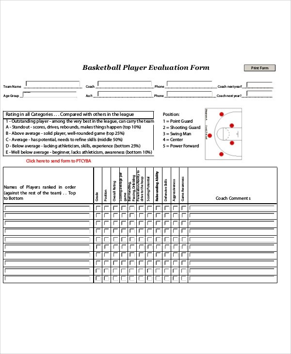Sample Basketball Evaluation Form - 10+ Examples in Word, PDF