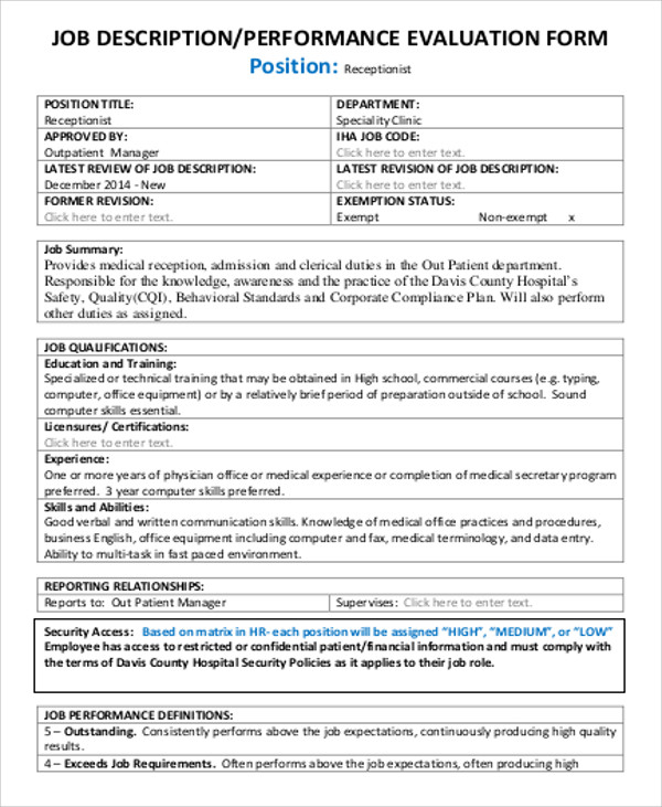 standard performance review form - Goalgoodwinmetals - standard performance review form