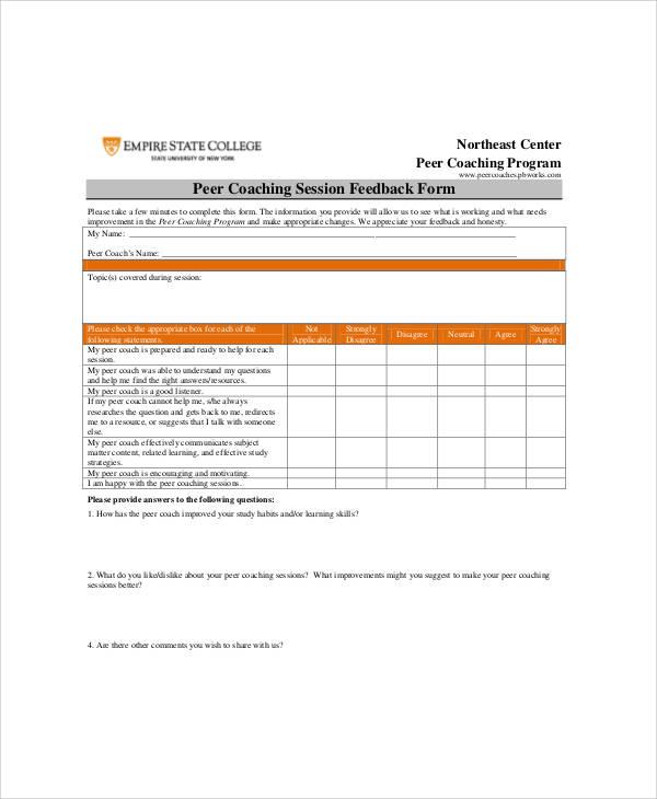 7+ Sample Coach Feedback Forms Sample Templates
