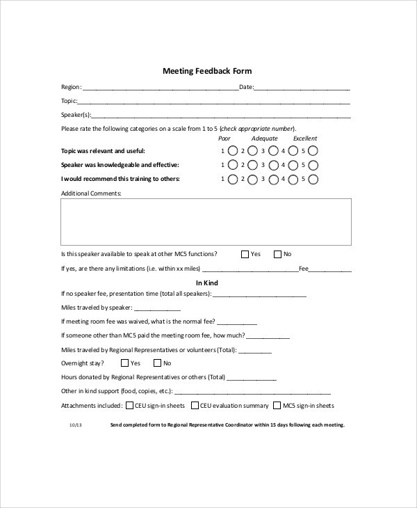 Meeting Feedback Form - Design Templates