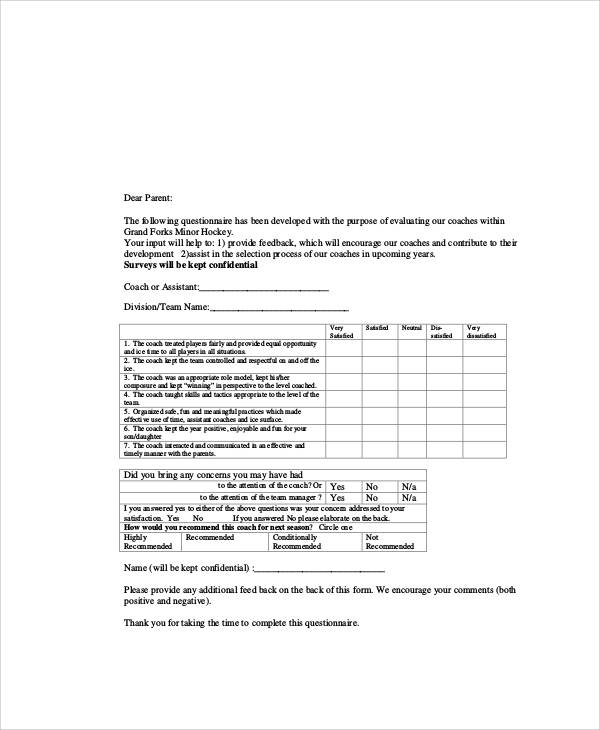 Coach Feedback Form Welcome Letter Sample Template Free Coaching