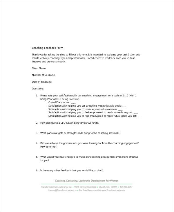 7+ Sample Coach Feedback Forms Sample Templates - coach feedback form