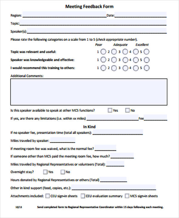 12+ Free Sample Feedback Forms Sample Templates