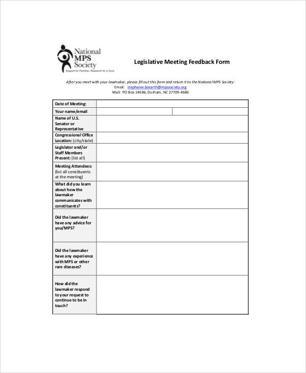 Sample Meeting Feedback Form - 9+ Examples in Word, PDF