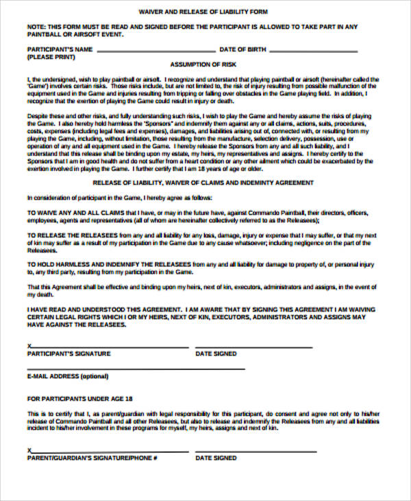 Release Waiver Form Sample  Job Application For Tops