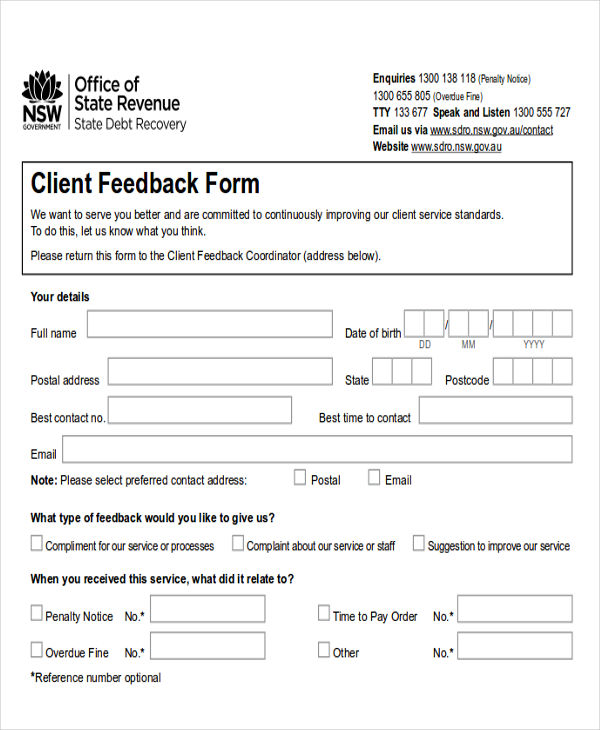 8+ Sample Client Feedback Forms in Word Sample Templates - Client Feedback Form In Word