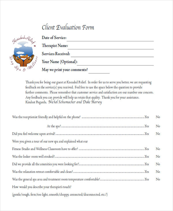 8+ Sample Client Feedback Forms in Word Sample Templates - service feedback form