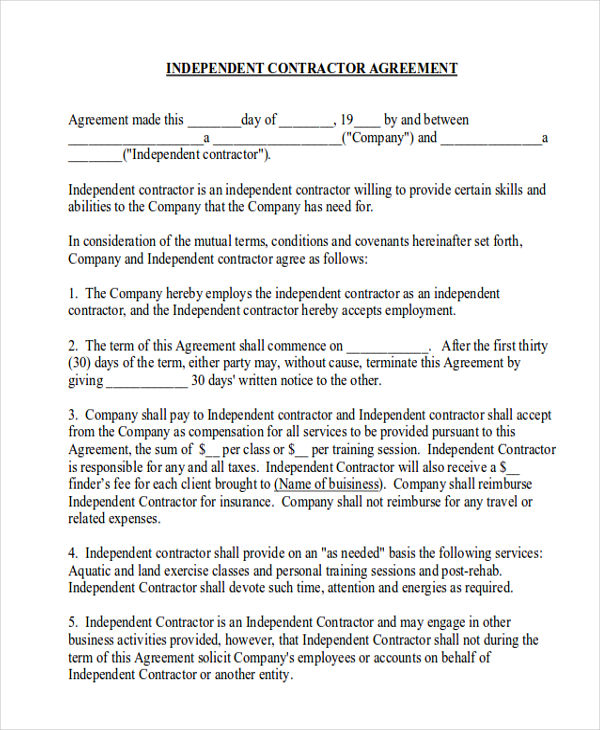 9+ Contractor Agreement Samples Sample Templates