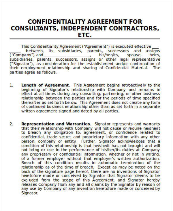 9+ Contractor Agreement Samples in Word, PDF - contractor confidentiality agreement