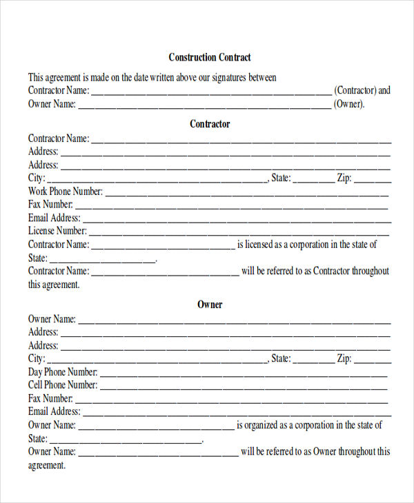 Home Improvement Contract construction forms - oukasinfo - construction contract forms