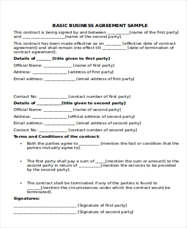 9+ Business Agreement Samples Sample Templates