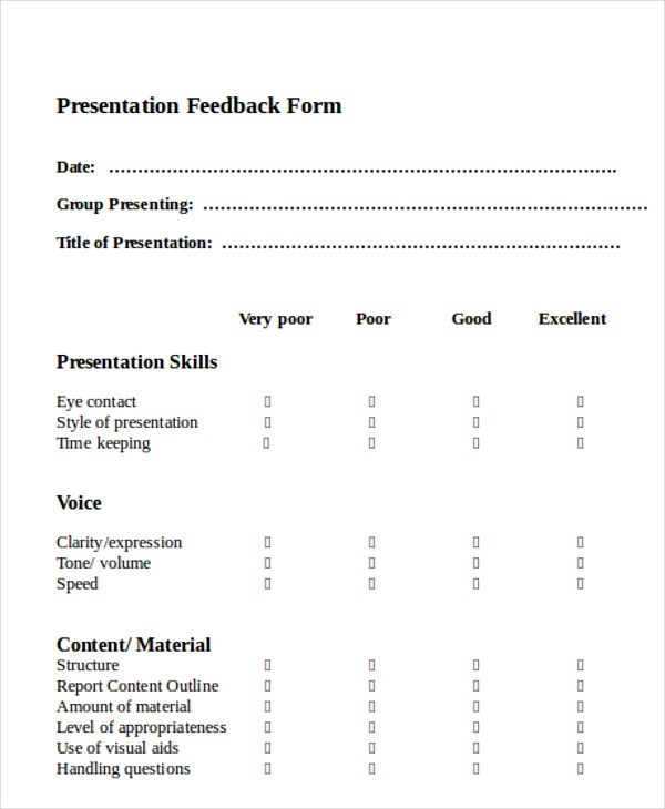 Sample Feedback Form in Word - 11+ Examples in Word