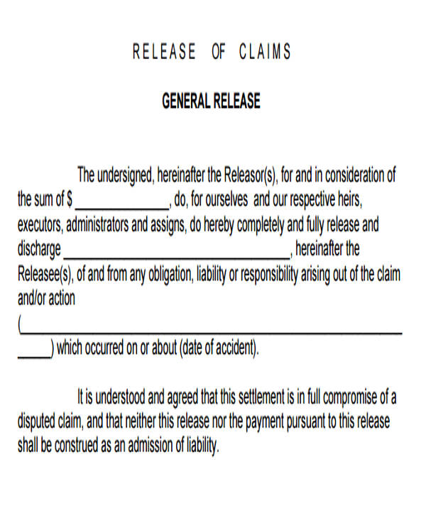 7+ Sample General Liability Release Forms Sample Templates