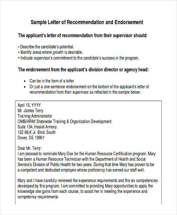 Sample Employee Recommendation Letter - 7+ Examples in Word, PDF - endorsement letter for employment