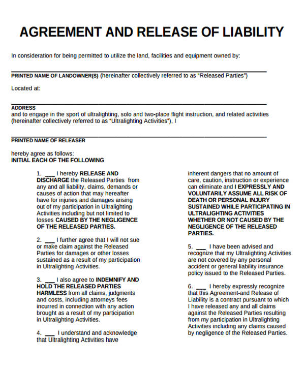 liability release form – Release of Liability Agreement