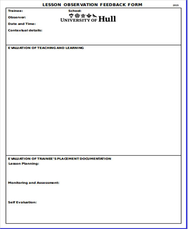 10+ Sample Observation Feedback Forms Sample Templates - observation feedback form