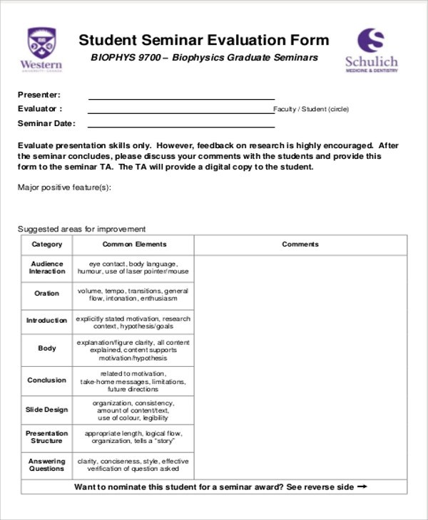 8+ Sample Seminar Feedback Forms Sample Templates - sample seminar sign in sheet
