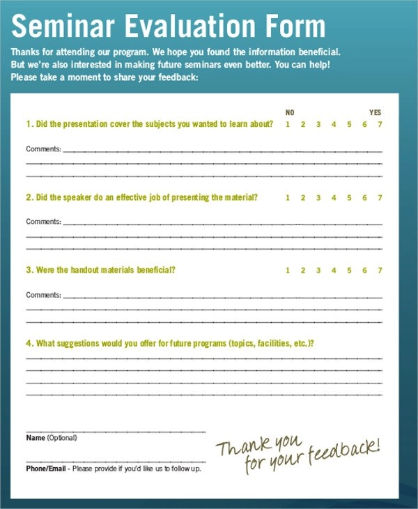 Speaker Feedback Form - Resume Template Sample - seminar evaluation form
