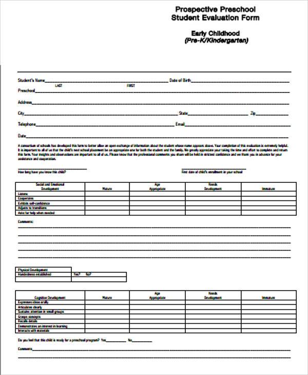 Doc#400517 Student Evaluation Forms u2013 Student Evaluation Form - sample student evaluation forms
