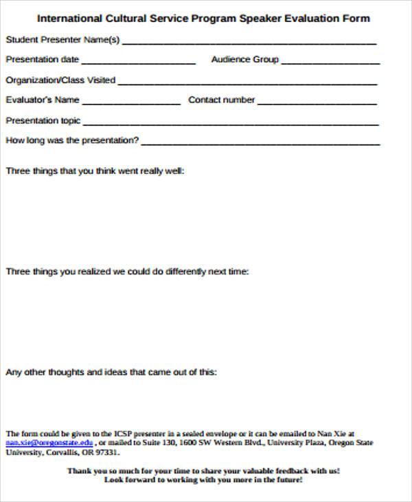 Speaker Evaluation Form - Design Templates