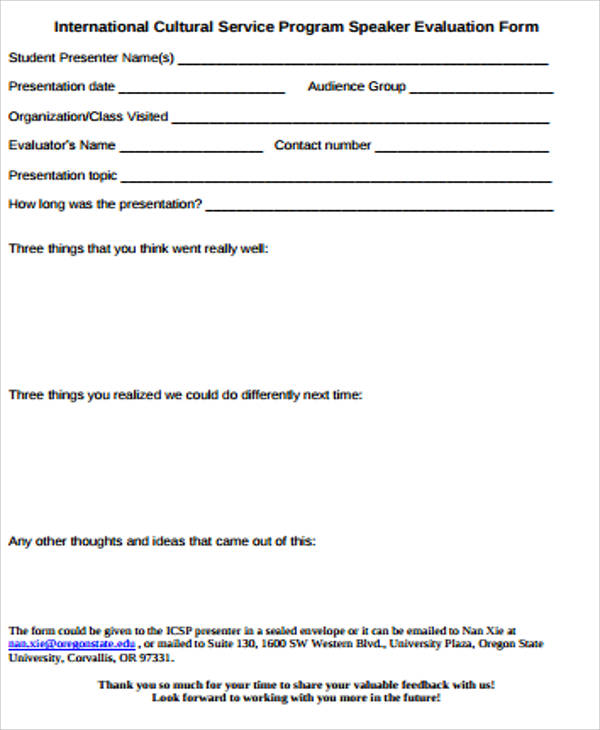 Stunning Speaker Evaluation Form Photos Best Resume Examples for – Program Evaluation Form