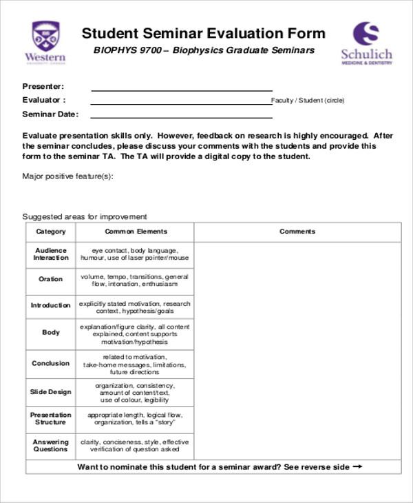 Sample Seminar Evaluation Form - 10+ Examples in Word, PDF - seminar feedback form