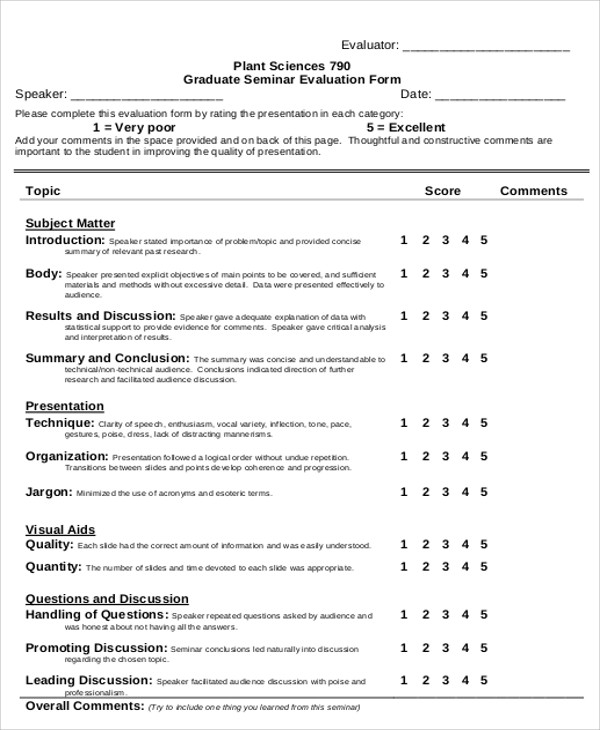 10+ Sample Seminar Evaluation Forms Sample Templates
