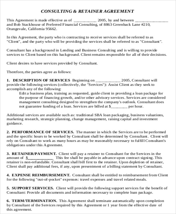 Consulting Agreement Example - 9+ Samples in Word, PDF - consulting retainer agreement
