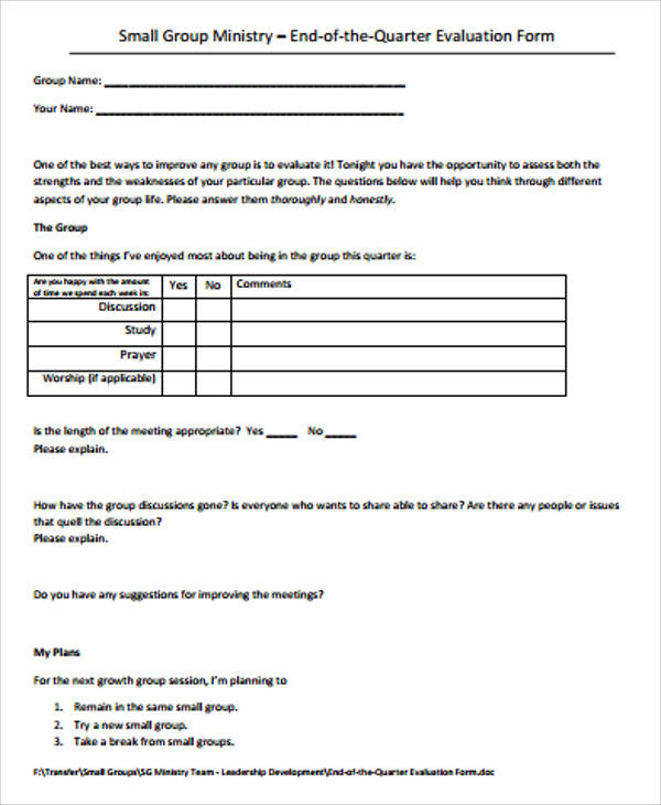 Sample Small Group Evaluation Form - 7+ Examples in Word, PDF