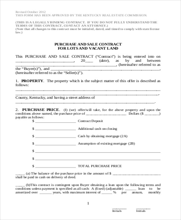 6+ Sample Land Sales Contracts Sample Templates