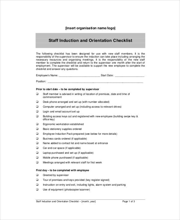 Sample New Hire Orientation Checklist kicksneakers