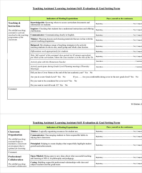 Amazing Teacher Self Evaluation Form Gallery - Best Resume