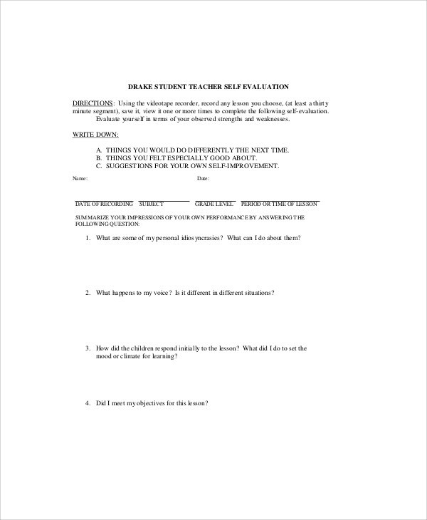 Sample School SelfEvaluation Form Examples In Word Pdf Student Self