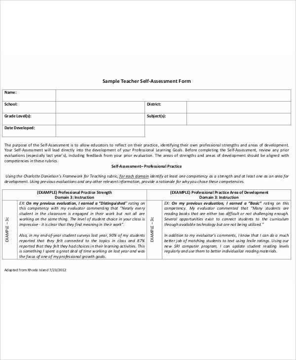 7+ Sample Teacher Self-Evaluation Forms Sample Templates