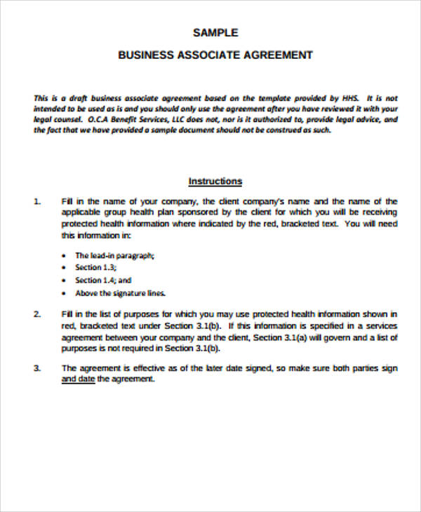 Sample Business Associate Agreement - 10+ Examples in Word, PDF