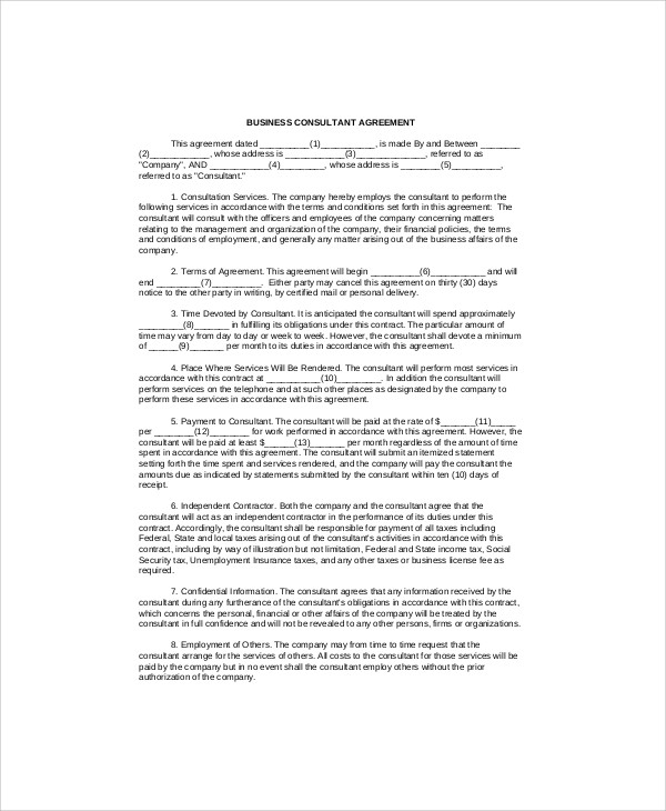 Sample Consulting Agreement Forms - 7+ Examples in Word, PDF - business consultant agreement