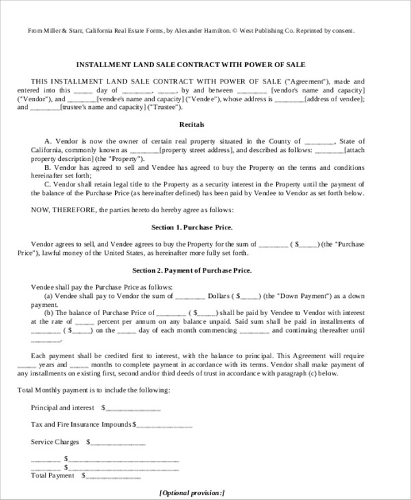 12+ Sample Installment Sales Contracts Sample Templates