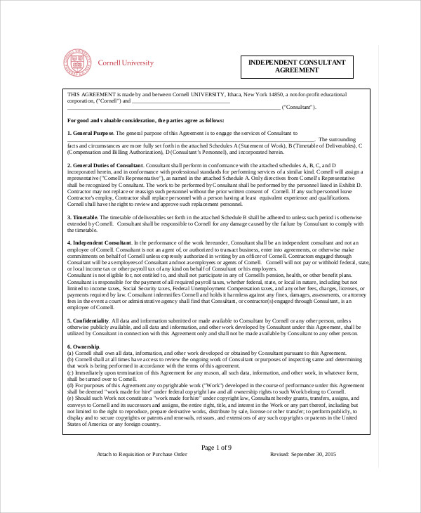 Consulting Agreement Sample In Word Awesome Independent Consulting