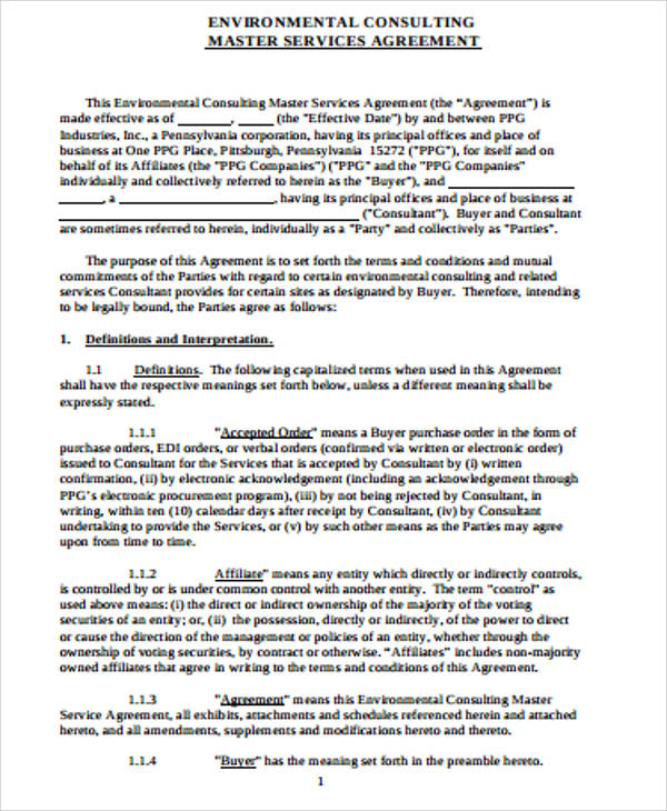 4+ Sample Master Consulting Agreements Sample Templates - Sample Master Service Agreement