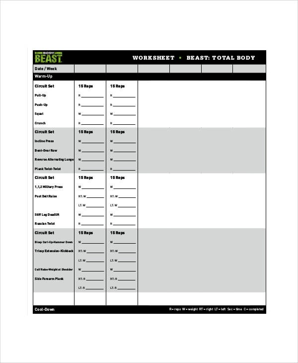 Beast Workout Sheet Sample - 7+ Examples in Word, PDF