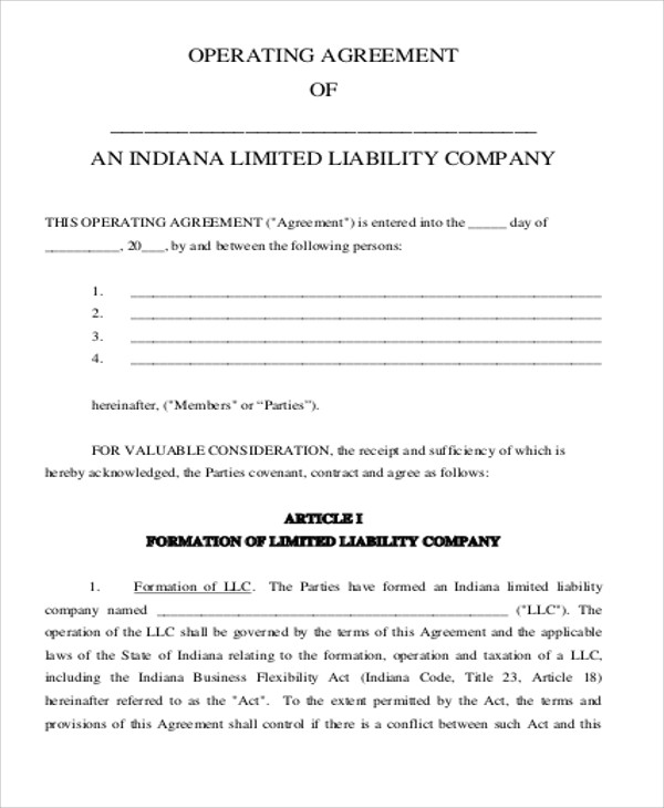 Sample Business Operating Agreements - 8+ Examples in Word, PDF - business operating agreement
