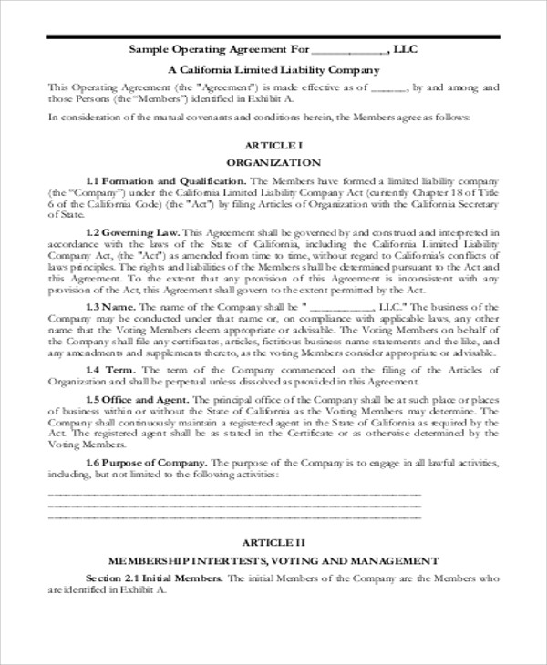 8+ Sample Business Operating Agreements Sample Templates