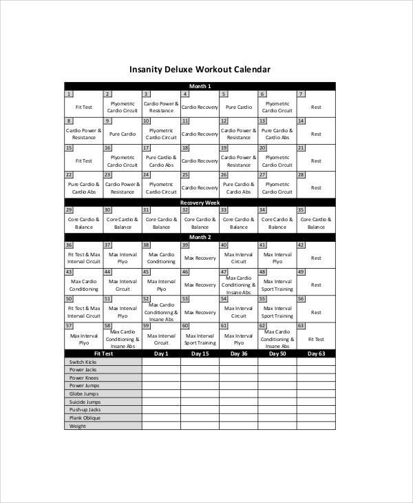 workout schedule sheet