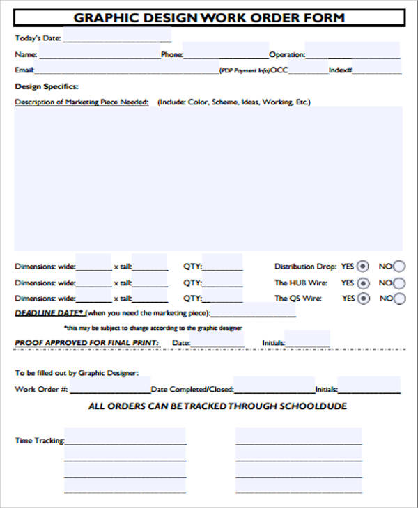 Examples of Work Order Form - 10+ Samples in Word, PDF