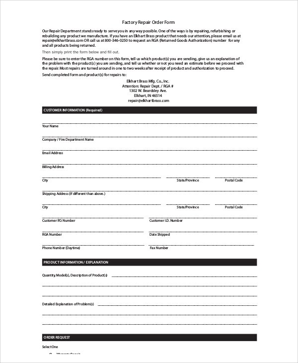 9+ Sample Repair Order Forms Sample Templates - repair order form