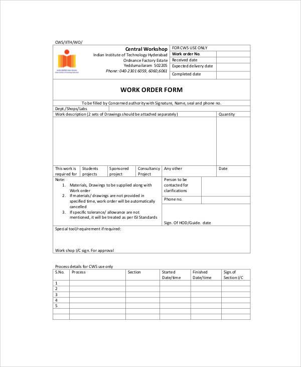 blank work order forms - Baskanidai - work order form