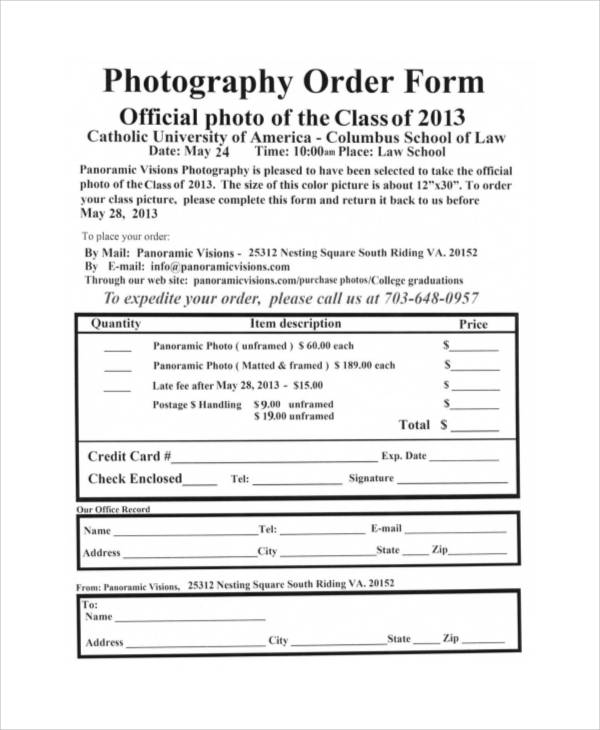 8+ Free Printable Order Form Samples Sample Templates