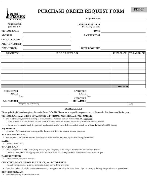 8+ Sample Purchase Order Request Forms Sample Templates