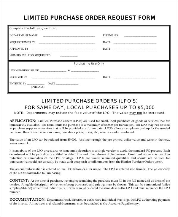 8+ Sample Purchase Order Request Forms Sample Templates - purchase request form