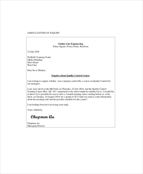 6+ Sample Business Enquiry Letters Sample Templates - Format Of Letter Of Enquiry